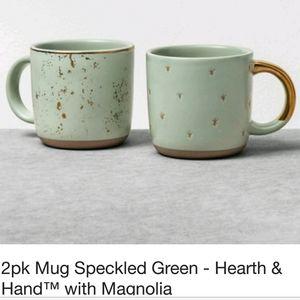 Green & Gold Foil Stoneware Mugs (set of 2)
